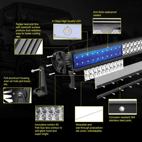 50'' Curved 4D 400W LED Light Bar with 8ft Wiring Harness,40000LM Offroad Driving Fog Lamp Marine Boating Light IP68 WATERPROOF Spot - YITAMotor