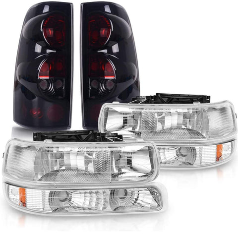 Headlight Assembly and Taillights Combo Set Compatible with 1999 2000 2001 2002 Chevy Silverado, Chrome Housing Headlamps Replacement - YITAMotor