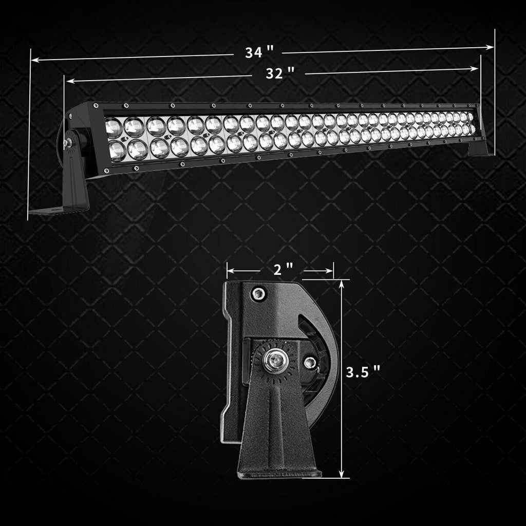 2X 32inch 180W LED Light Bar Spot Flood Combo For Jeep Offroad Truck 4WD RZR