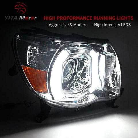 YITAMOTOR Headlights For 05 06 07 08 09 10 11 Toyota Tacoma Headlamp with LED DRL