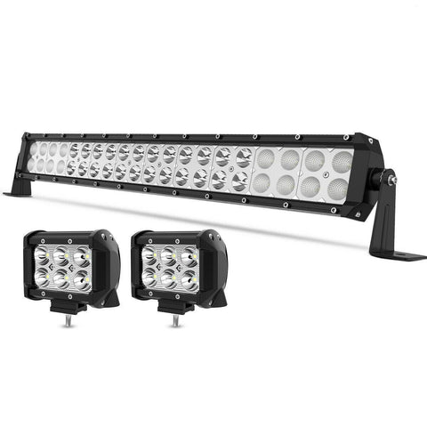 22 Inch 120W LED Light Bar Spot Flood Combo Offroad + 4inch 18W Pods Lights 24""