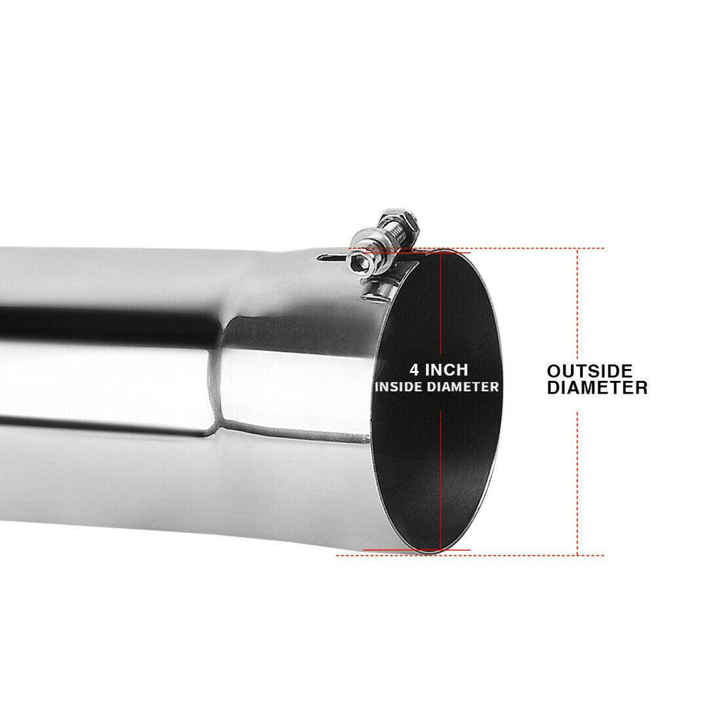 4 Inch Inlet Turn Down Exhaust Tip, 4 x 4 x 15 Chrome Polished Stainless Steel Turndown Pipe Exhaust Tip, Bolt On Design - YITAMotor