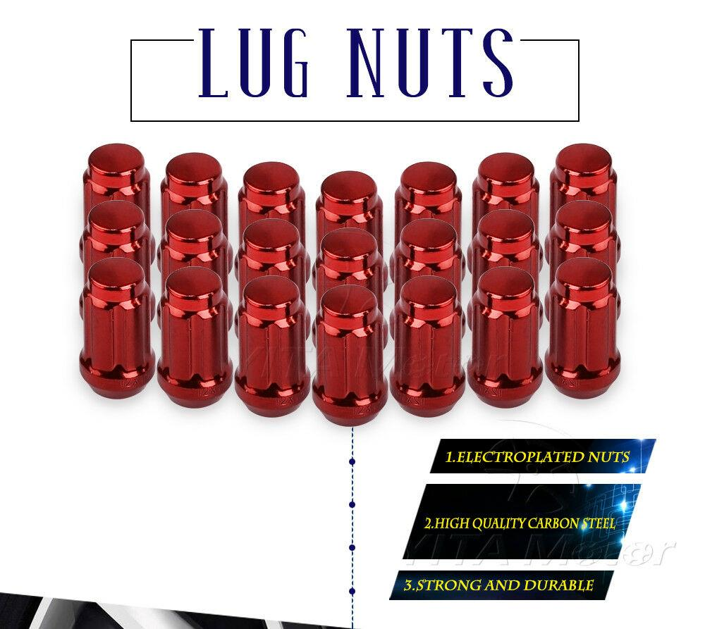 Lug Nuts 12x1.5 Red, 6 Spline Bulge Acorn Wheel Lug Nuts 1.38'' Tall Compatible for Acura Ford Honda Mazda Saturn Toyota Buick Mitsubishi with 1 Key