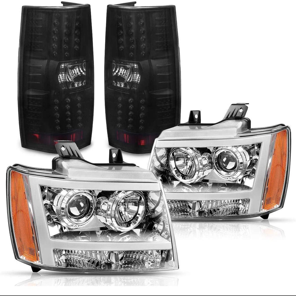 Headlight Assembly and Tail Lights Combo Set For 2007-2014 Chevy Suburban/Tahoe Headlights Replacement Chrome Housing with Amber Reflector - YITAMotor