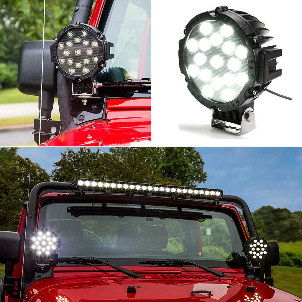 2pcs 7inch 51W Led Work Lights Offroad Bumper Fog Pods Round Tractor ATV 4WD SUV - YITAMotor