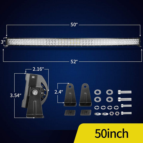 50'' LED Light Bar Curved 4D 400W with 8ft Wiring Harness,40000LM Offroad Driving Marine Boating Light IP68 WATERPROOF Spot - YITAMotor