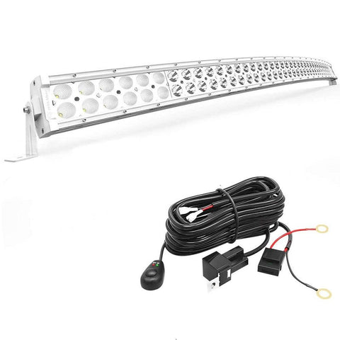 288W White 50 inches Curved Bar Off Road Spot Flood Combo Led Work Light with Wiring Harness