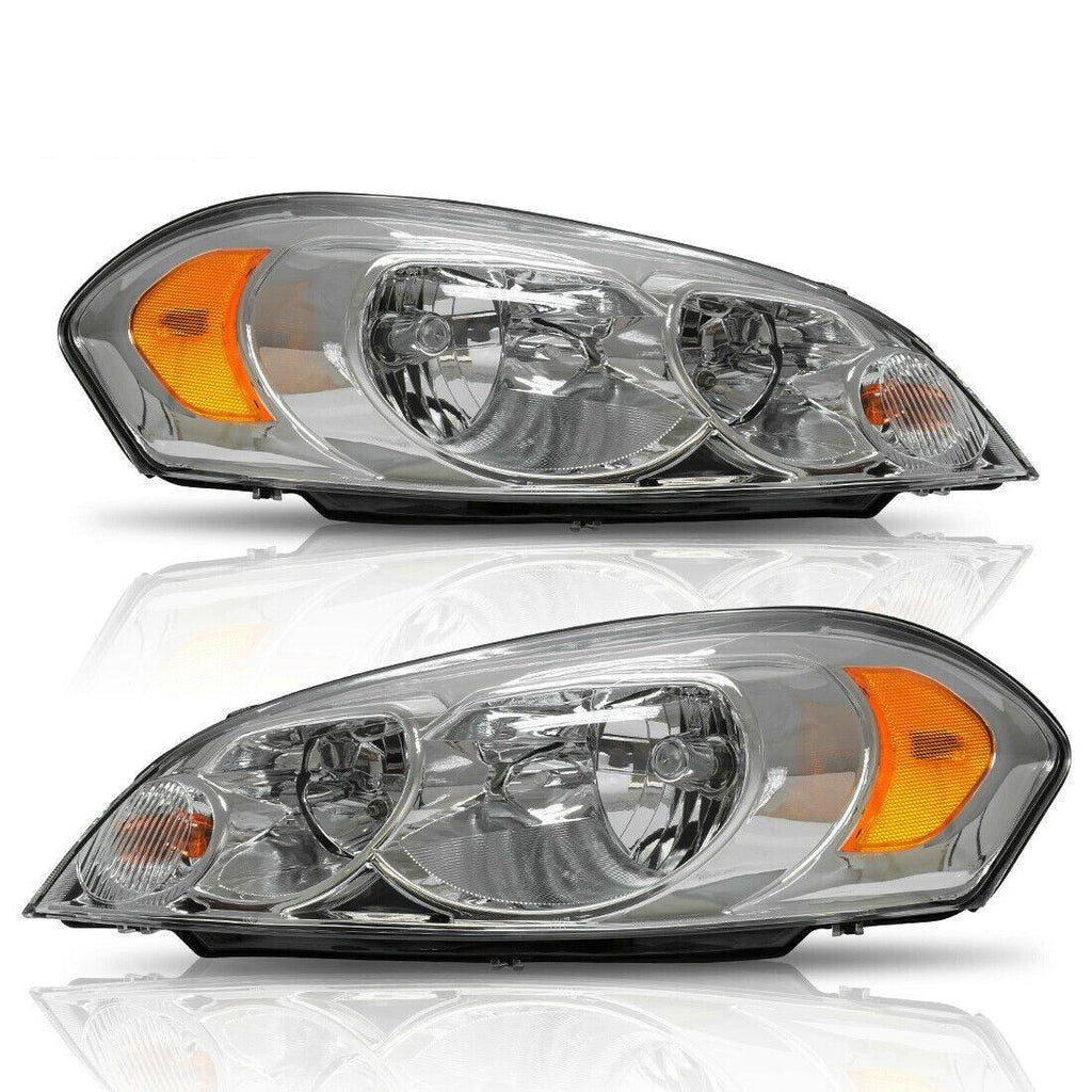 Headlight Assembly for 2006-2013 Chevy Impala 06 07 Chevy Monte Carlo Replacement Headlamp Driving Light Chrome Housing Amber Reflector Clear Lens