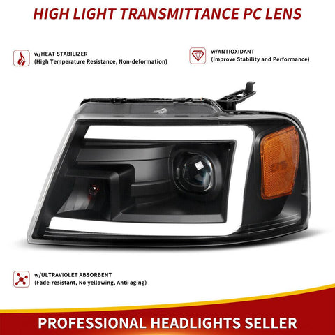 Dual Projector Headlights Compatible with 2004-2008 Ford F150 Pickup, Newest w/LED Tube DRL Headlamps, Clear Spotlight Lens Black Housing Amber Side