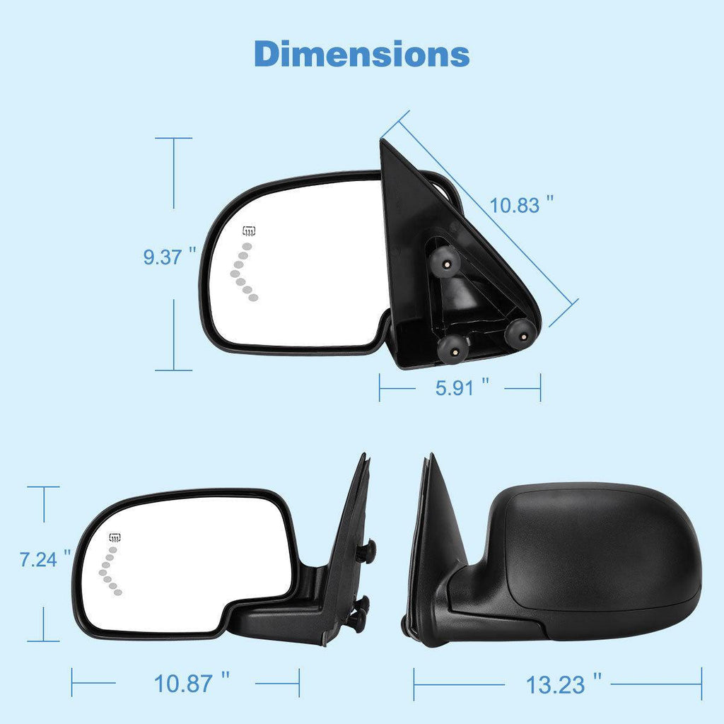YITAMOTOR for 2003-2006 Chevy GMC Truck Power Heated Driver Left Side Led Signal Side View Mirror - YITAMotor