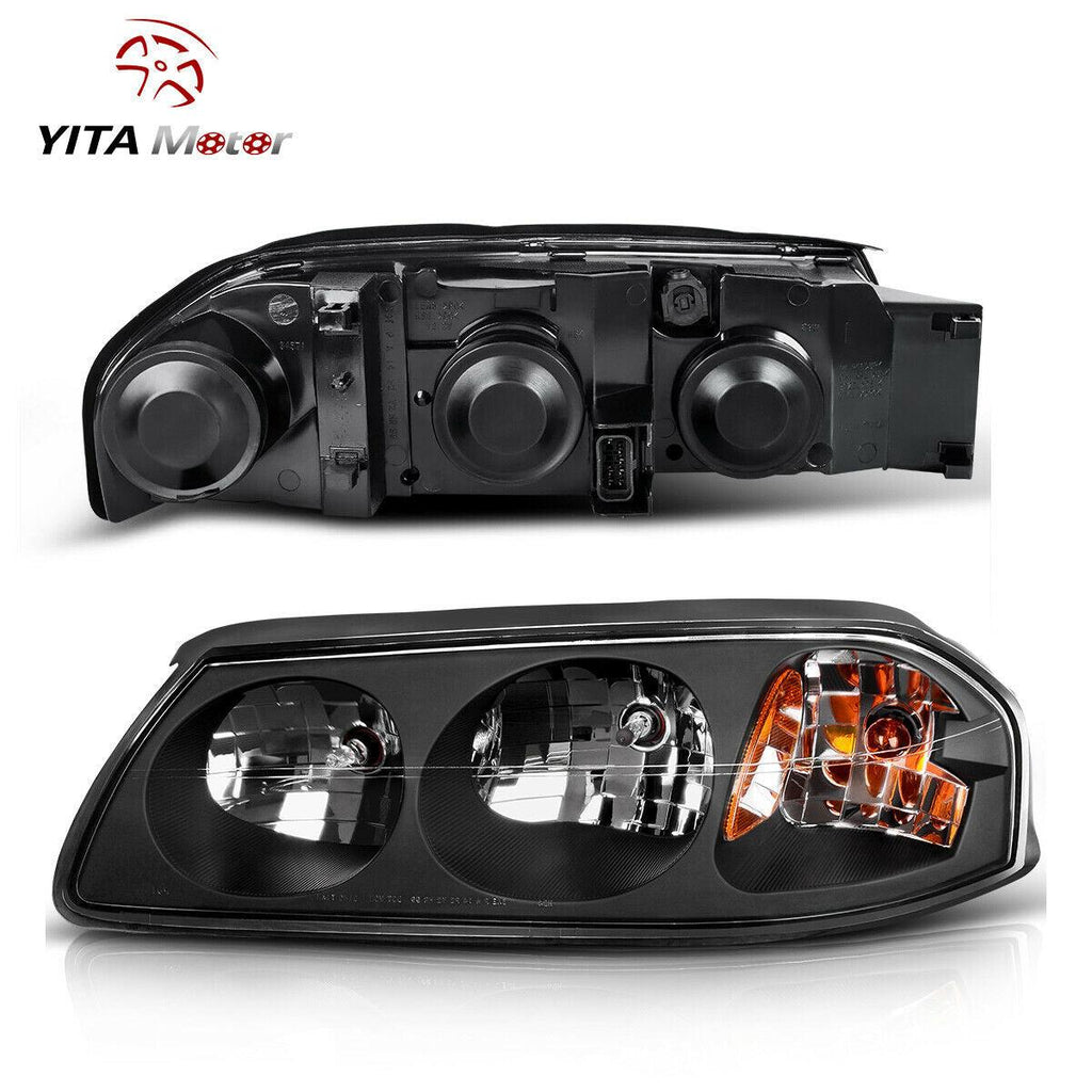 For 2000 2005 Chevy Impala Headlights Replacement Black Housing Amber Yitamotor