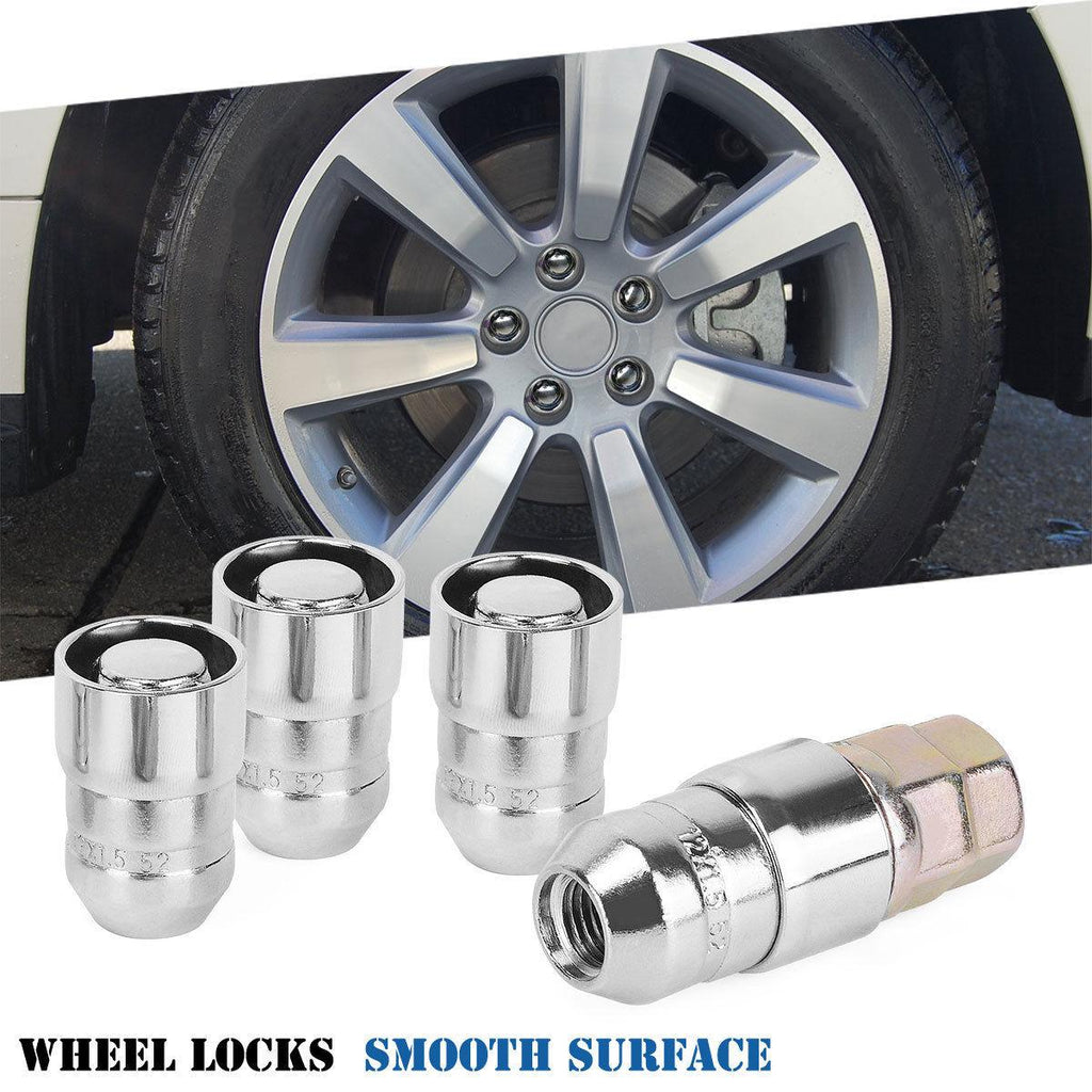 M12x1.5 Chrome Cone Seat 4 Locks With 1 Key Set Anti-theft Locking Wheel Lug Nuts - YITAMotor