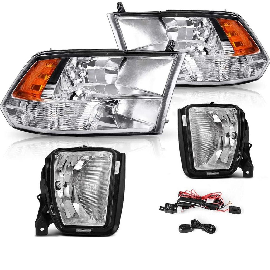 Headlight Assembly and Fog Light Combo Set For 2013-2018 Dodge Ram 1500, Chrome Housing Headlights Replacement, Clear Lens Fog Lamps w/Bulbs - YITAMotor