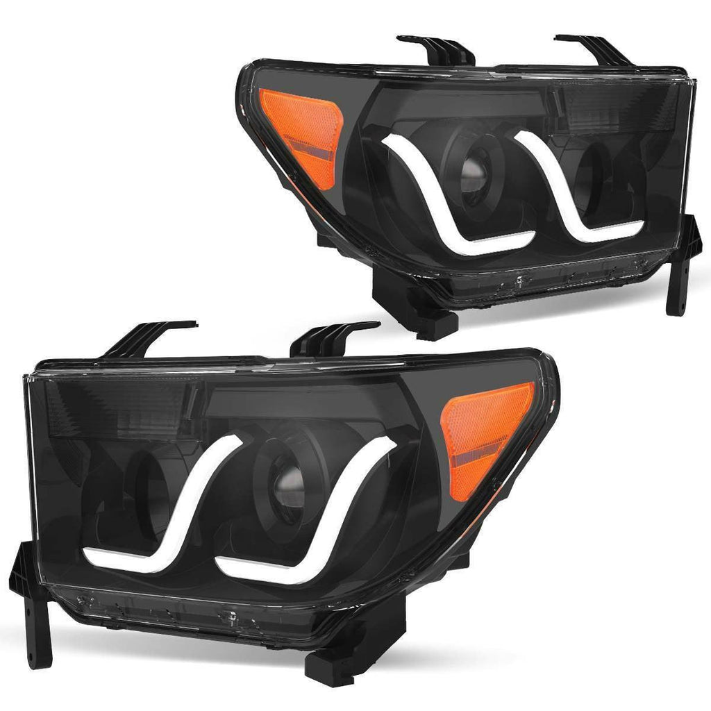 2007-2013 Toyota Tundra/2008-2017 Sequoia Headlight Assembly Headlamps with LED Tube