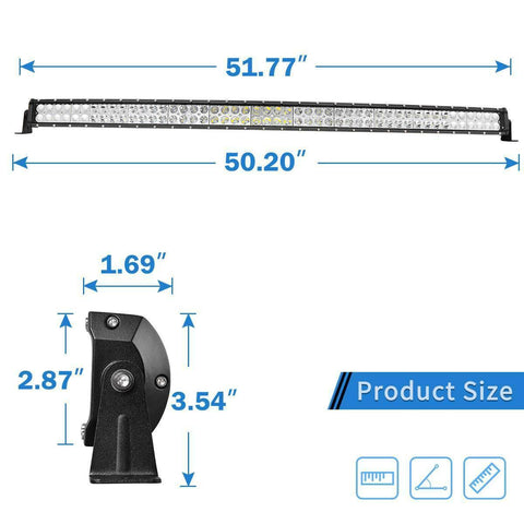50 Inch 288W Curved LED Light Bar Flood Spot Roof Driving Truck RZR SUV 4WD