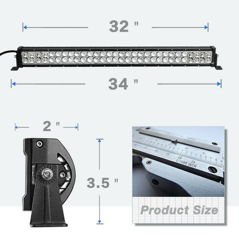 32inch 180W LED Light Bar Spot Flood Combo Off Road SUV ATV Marine Pickup with Wiring Harness