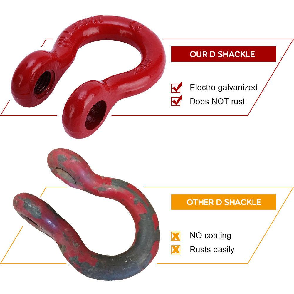 4.75 Ton 9,500 lb Off Road Heavy Duty Red Shackle Kit for Vehicle Recovery Stump Removal YITAMOTOR Shackles 3//4 D Ring Shackle with Black Isolator Washer Towing
