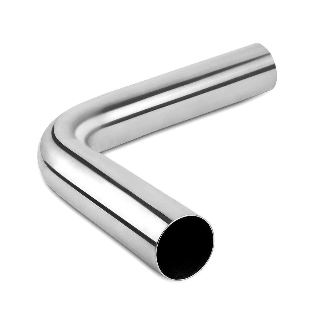 "Pair OD 2.5"" Inlet 2.5"" Outlet 2FT(24"") 90 Degree Bend Exhaust Pipes Chrome S/S - YITAMotor"