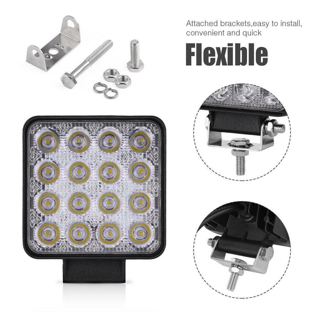 4 Inch 48W Square Flood LED Work Light 2Pcs - YITAMotor