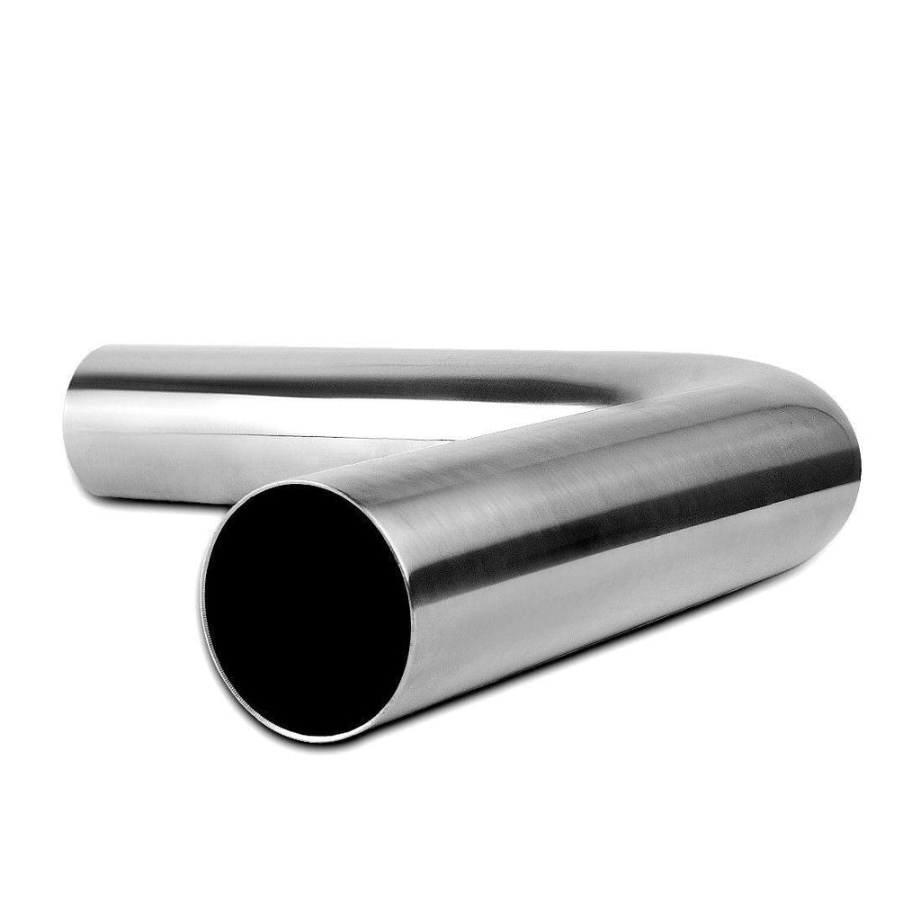 Exhaust Tip Bend Tubing 3 Inch Inlet x 3 Inch Outlet x 24 Inch (2 Feet) Long 90 Degree Chrome Polished Tailpipe Welded Stainless Steel Curved Pipe - YITAMotor