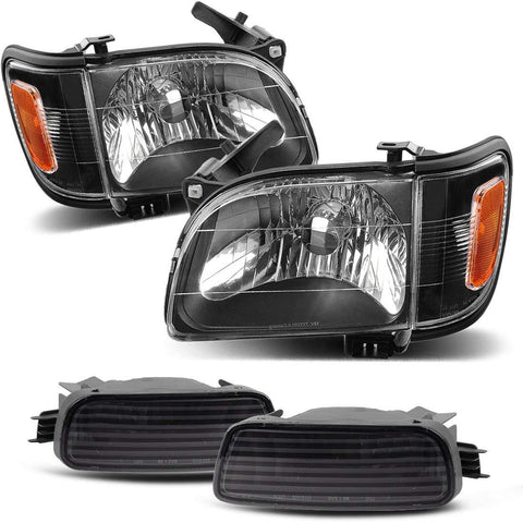 For 01-04 Toyota Tacoma Pickup Truck Replacement Headlights Black Housing with Amber Reflector Clear Lens + Bumper Lights (Driver and Passenger Side) - YITAMotor