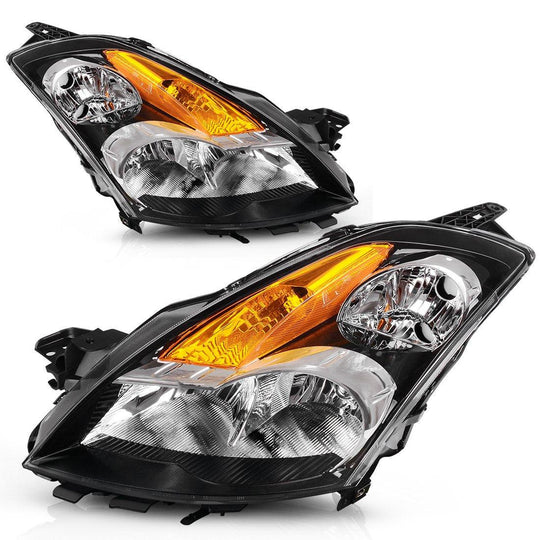 For 2007-2009 Nissan Altima 4-Door Sedan Headlights Assembly Black Housing with Amber Reflector Clear Lens (Driver and Passenger Side) - YITAMotor