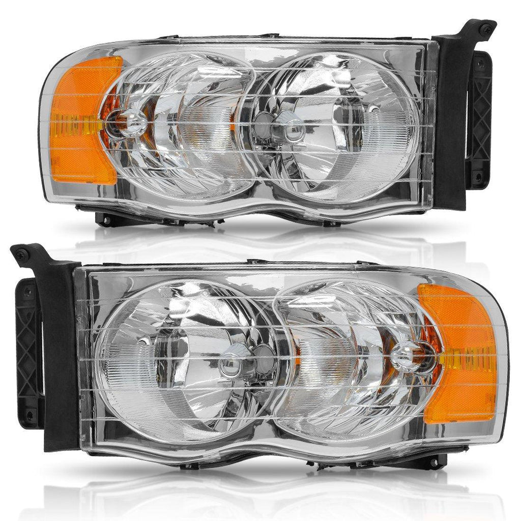 Pair Headlight Assembly for 2002-2005 Dodge Ram Pickup Truck OE Style Replacement Headlamps Chrome Housing with Amber Reflector Clear Lens - YITAMotor