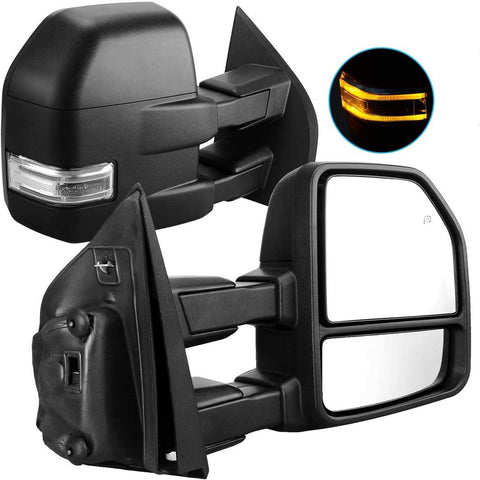 YITAMOTOR Towing Mirrors For 15-17 Ford F150 Pair of Exterior Automotive Power Heated Black Housing with Signal Indicator