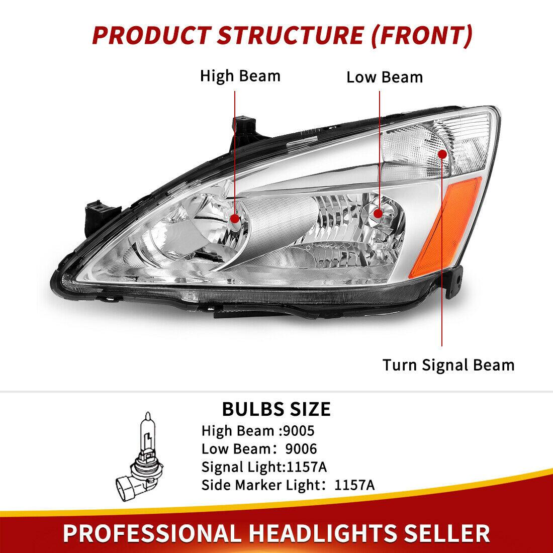 YITAMOTOR Compatible with 03 04 05 06 07 Honda Accord Headlight Assembly OE Headlamp Replacement, Chrome Housing Clear Lens - YITAMotor