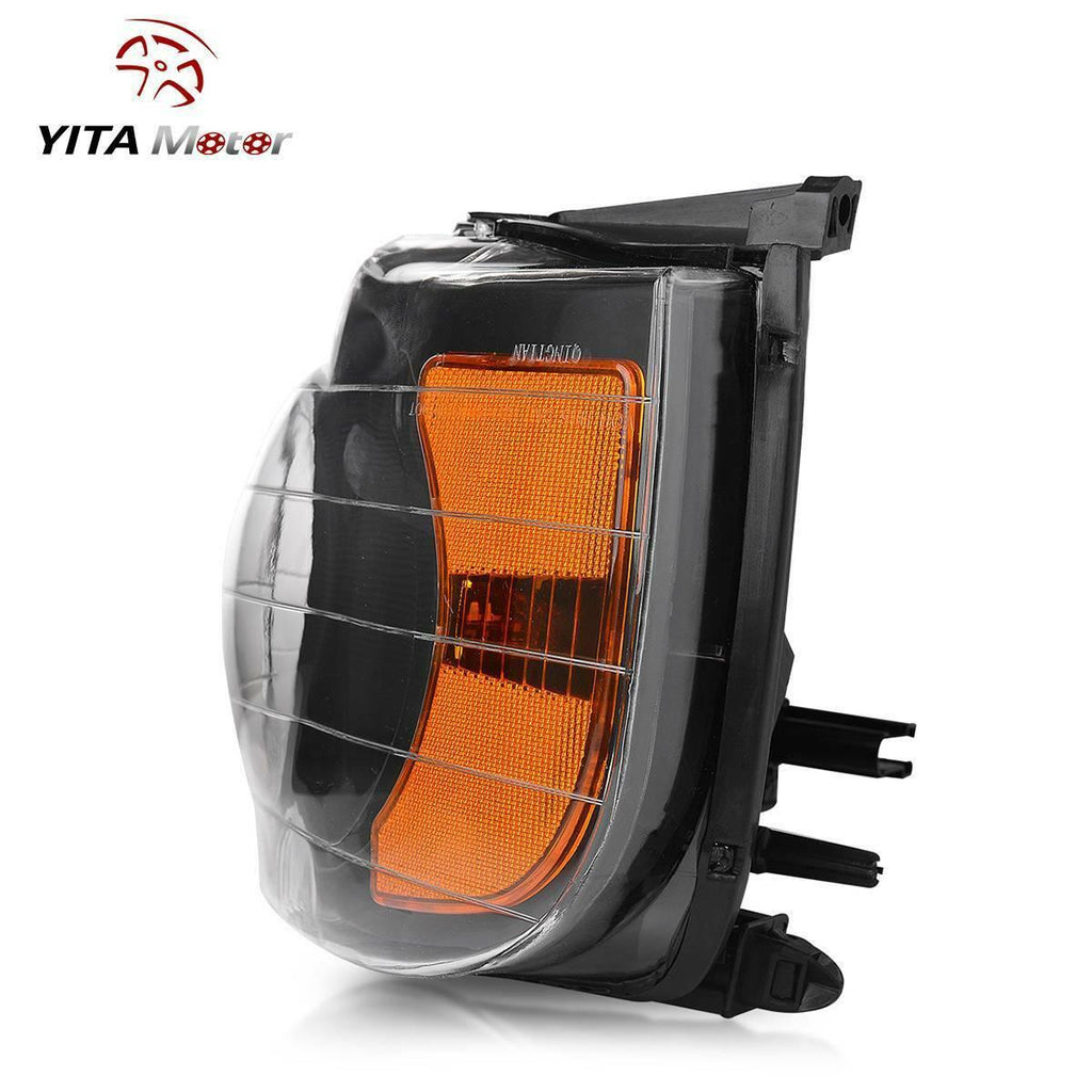 Headlight Assembly for 2002-2005 Dodge Ram Pickup Truck Headlamps Replacement Black Housing Amber Reflector Clear Lens (Passenger and Driver Side) - YITAMotor