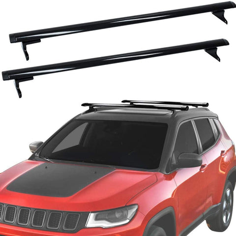 Roof Rack Cross Bars Compatible for 2018-2020 Jeep Compass, Aluminum Cargo Carrier Rooftop Luggage Bike Crossbars with Side Rails