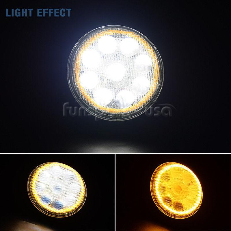 2x 4inch LED Light Pods 4D 54W Work Round Lamp 4500LM Super Bright Amber Flood Beam IP68 Waterproof with Ford GMC Chevrolet Dodge RAM Toyota Honda - YITAMotor