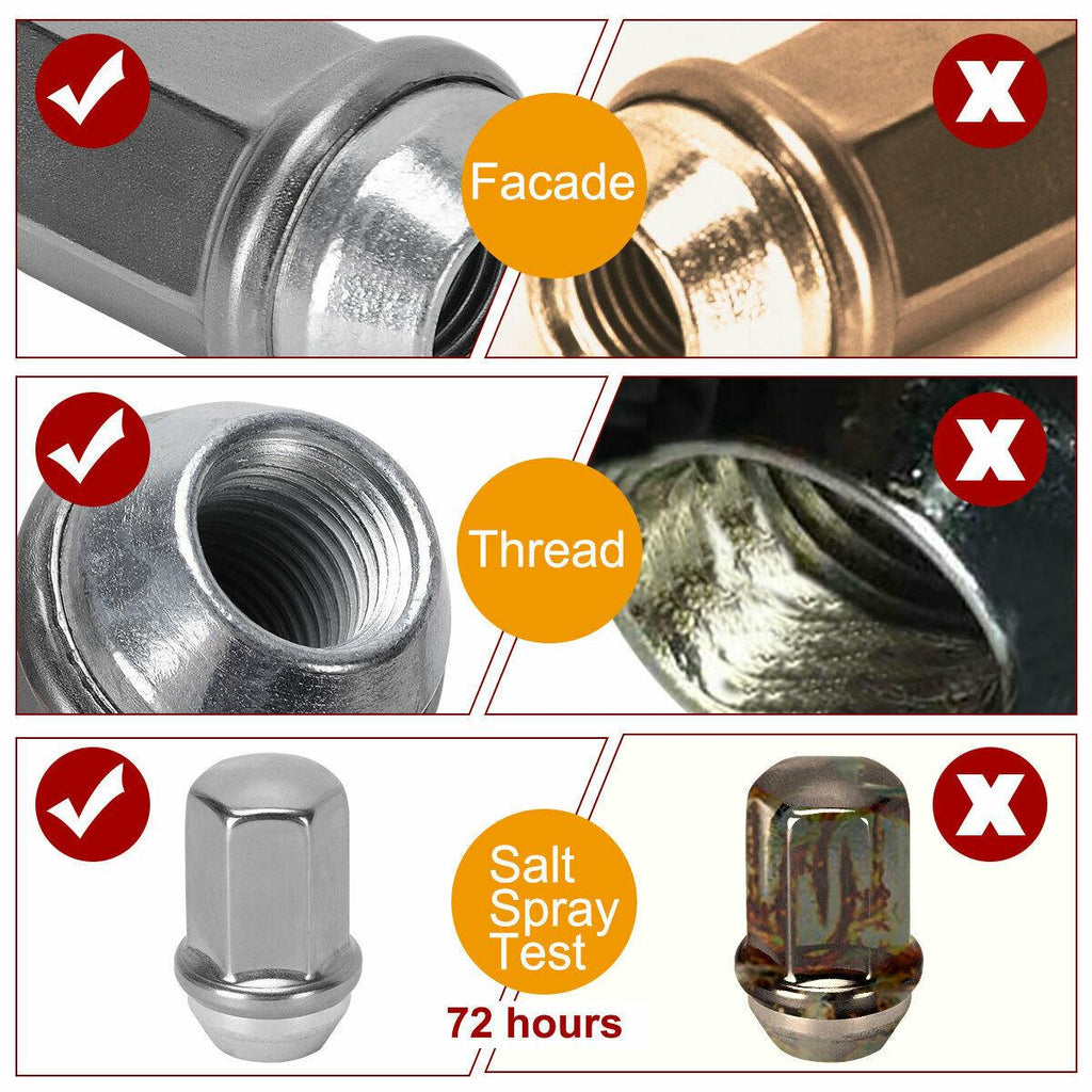 24 Chrome 14x1.5 Stainless Steel Capped Lug Nut for Chevy Silverado GMC Sierra - YITAMotor