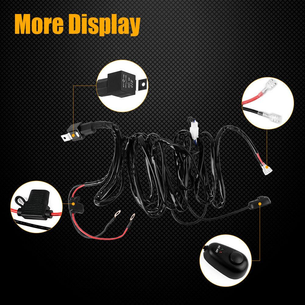 LED Light Bar Wiring Harness with Fuse Relay On & Off Switch for Jeep Pickup ATV Off Road Fog Driving Light Bar Up to 180W 12V 40A 8ft - YITAMotor