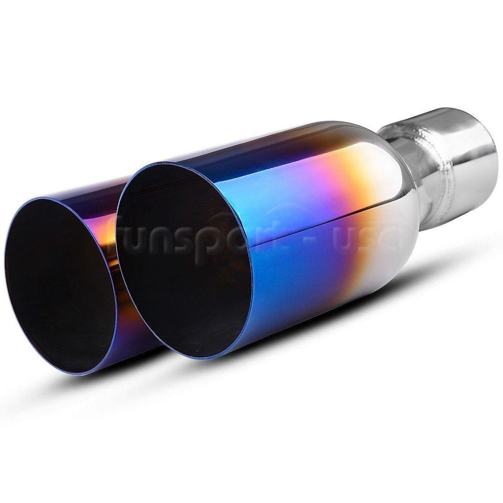 2.5'' Inlet 3.5'' Dual Outlet Round Cut Blue Burnt Exhaust Tip 304 Stainless Steel - YITAMotor