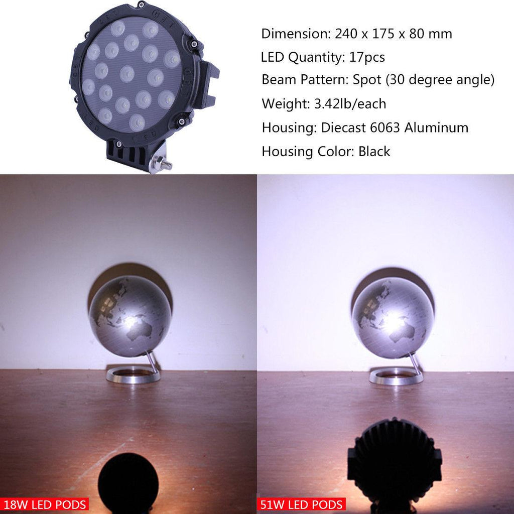 4x 7inch 51W Round Led Work Lights