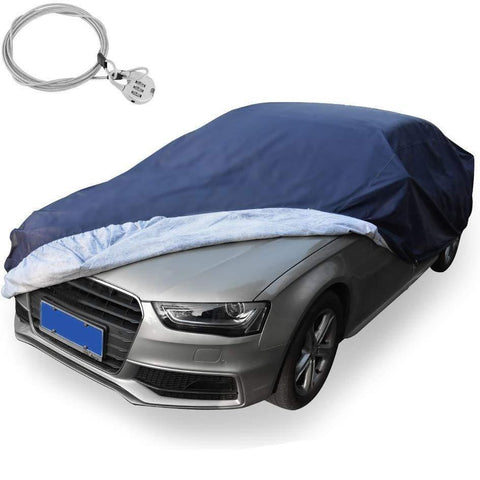 Universal Fit Car Cover All Weather Breathable Full Waterproof Windproof Heat Sun Snow Rain Dust Resistant(Fits up to 224 Inches, PEVA, Dark Blue) - YITAMotor