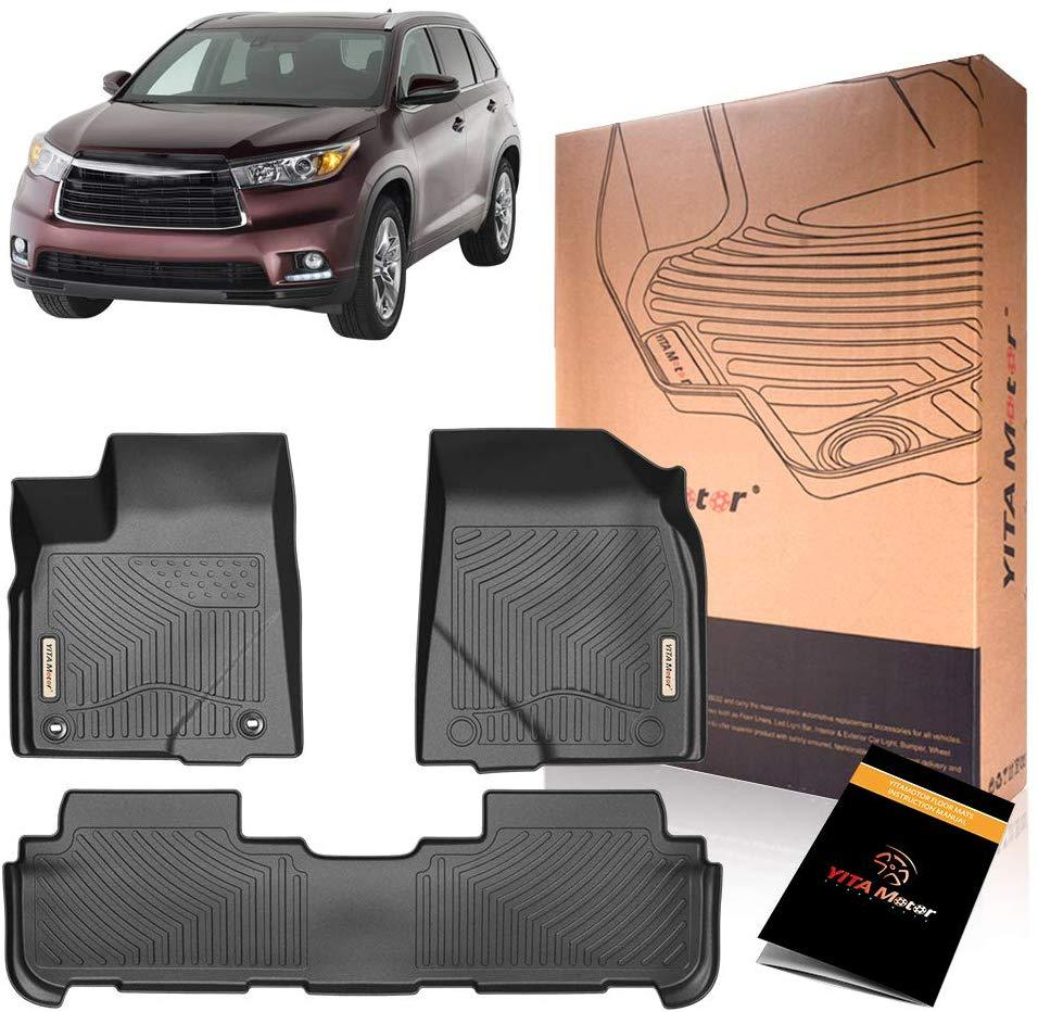 YITAMOTOR Floor Mats Compatible with Highlander, Custom Fit Floor Liners for 2014-2019 Toyota Highlander, 1st & 2nd Row All Weather Protection - YITAMotor