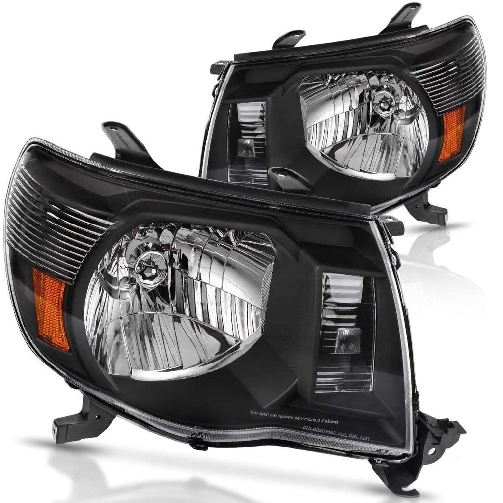 Yitamotor Headlights Assembly Compatible with 2005-2011 Toyota Tacoma Black Housing Headlamp - YITAMotor