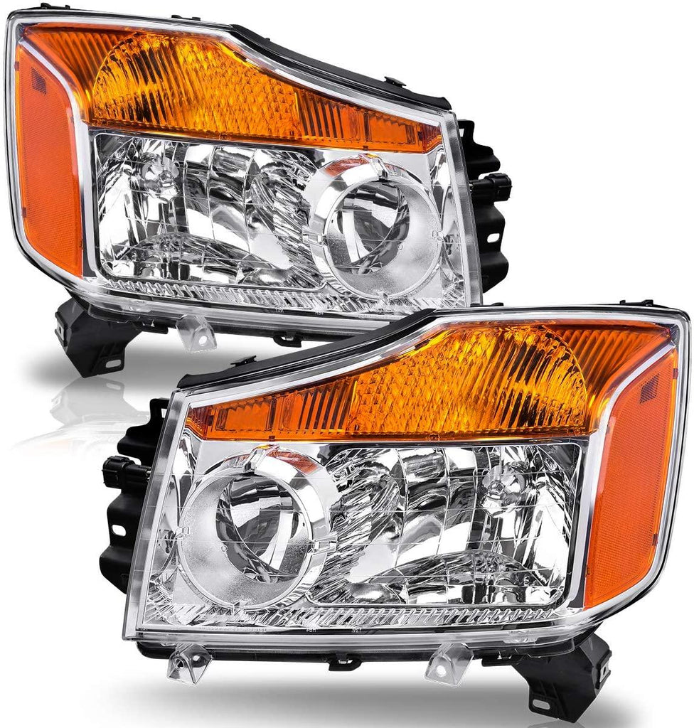 Headlight Assembly Compatible with 2004-2015 Nissan Titan / 05-07 Armada / 04 Pathfinder Armada,Chrome Housing Amber Reflector Clear lens