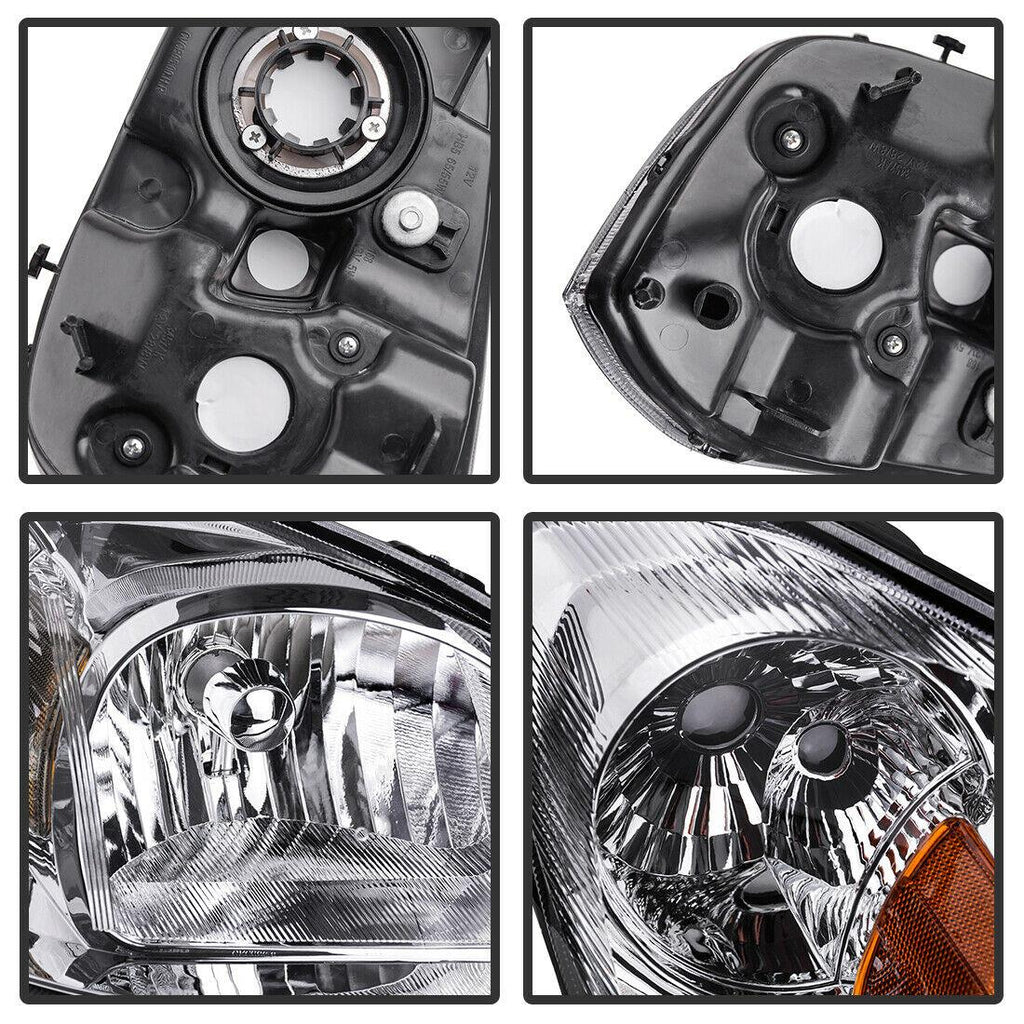 Headlight Assembly Compatible with 2005-2010 Chevy Cobalt/ 2005-2006 Pursuit/ 2007-2009 Pontiac G5 Chrome Housing Amber Reflector Clear Lens - YITAMotor
