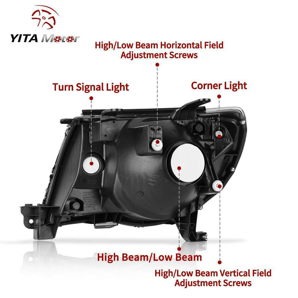 Yitamotor Headlights Assembly Compatible with 2005-2011 Toyota Tacoma Black Housing Headlamp