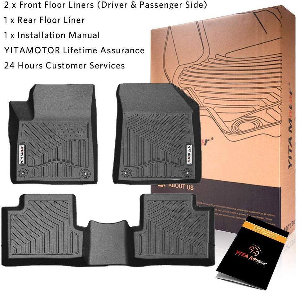 Floor Mats Compatible for 2016-2019 Jeep Cherokee (NOT Compatible for Jeep Grand Cherokee), All Weather Protection Floor Liners - Black - YITAMotor