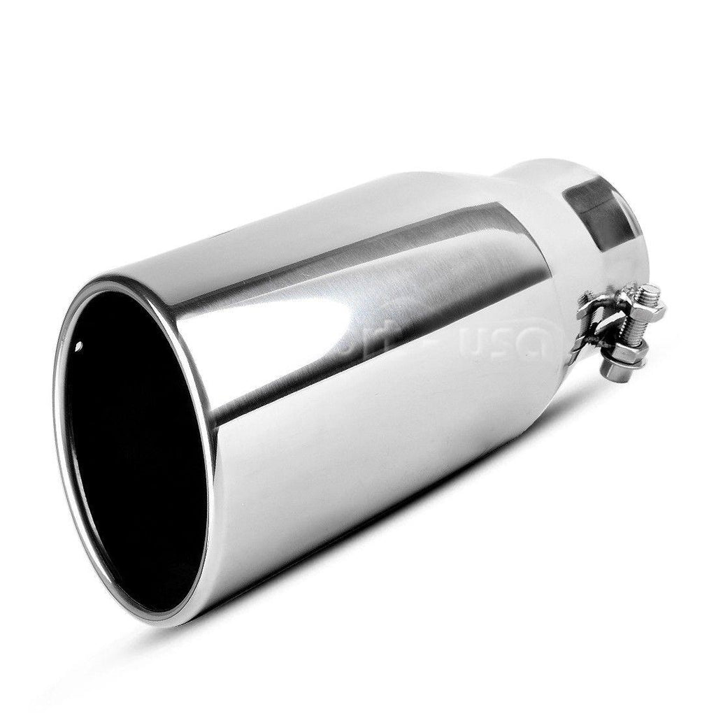 "3.5"" Inlet 5"" Outlet 12"" Long Diesel Exhaust Tip Bolt On Chrome Stainless Steel"