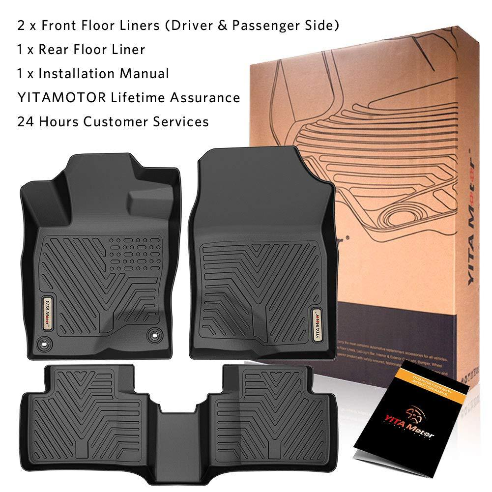 Custom Fit Floor Liners for 2016-2020 Honda Civic Sedan/Hatchback or Type R, Floor Mats 1st & 2nd Row All Weather Protection - YITAMotor