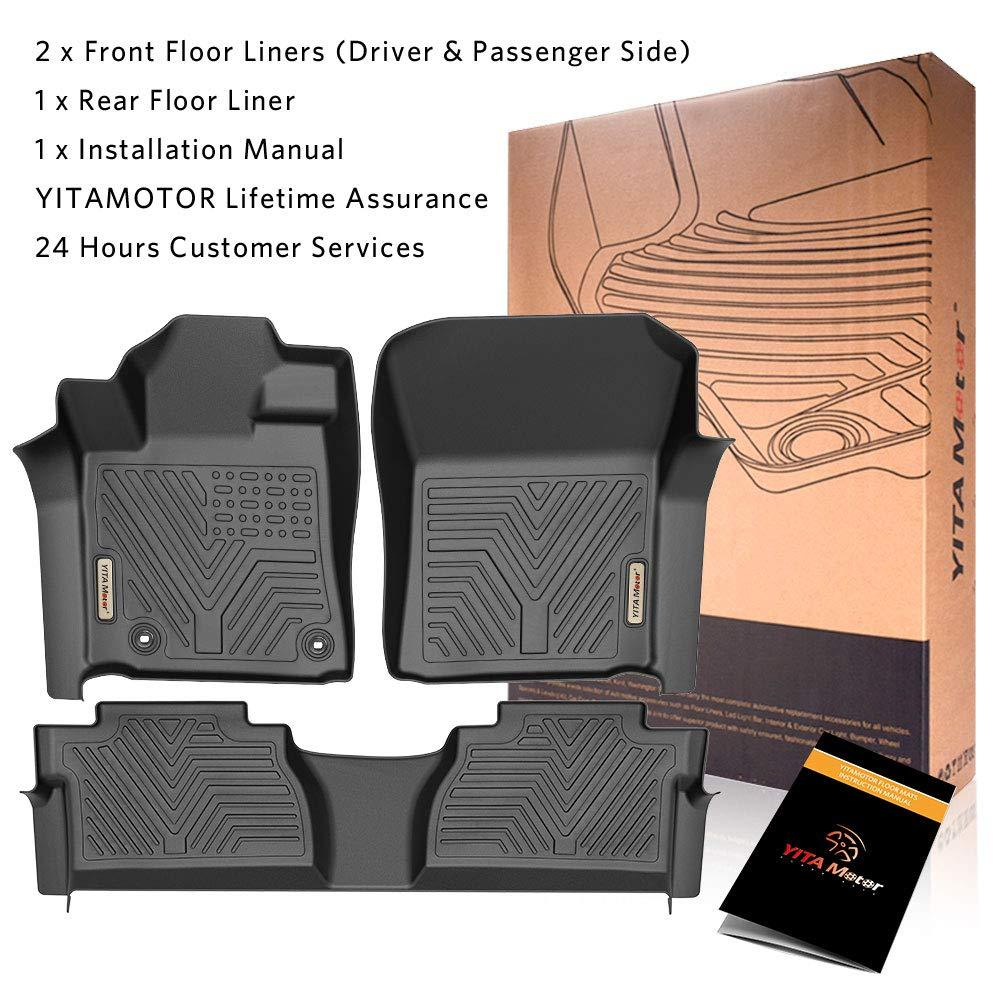 Custom Fit Floor Liners for 2014-2020 Toyota Tundra Double Cab & Crew Max Cab, Floor Mats 1st & 2nd Row All Weather Protection - YITAMotor