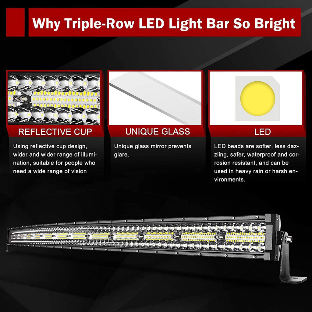 52 Inch 1250W Curved LED Light Bar Tri-Row Driving Off-Road Combo DRL
