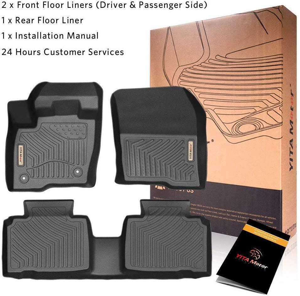 Floor Mats Floor Liners for 2015-2019 Ford Edge, 1st & 2nd Row All Weather Protection - YITAMotor