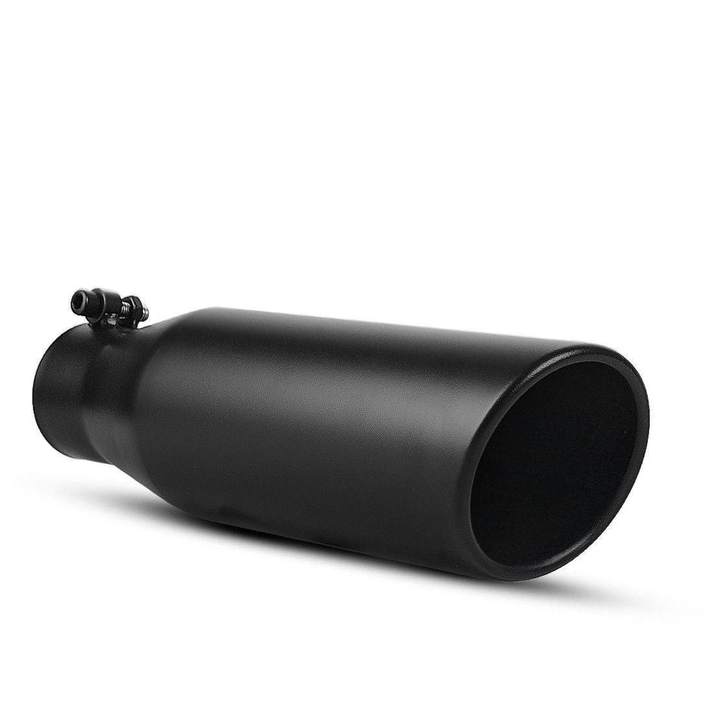 "2.25"" Inlet 3.5"" Outlet 12"" inch Long Bolt On Exhaust Tip Stainless Steel Black - YITAMotor"