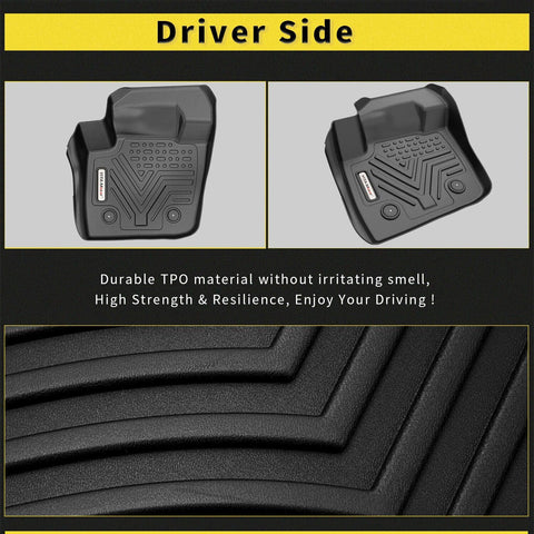 Floor Mats Floor Liners for 2013-2016 Ford Fusion Lincoln MKZ, 1st & 2nd Row All Weather Protection - YITAMotor